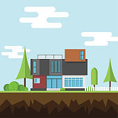 A modern houses with tree and clouds on the ground, Modern building and architecture