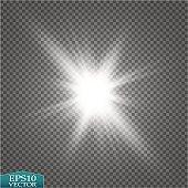 Glow light effect. Starburst with sparkles on transparent background. Vector illustration