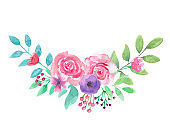 Watercolor Pink Purple Flower Arch Bouquet Arrangement