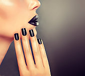 Manicure and make up in black color.