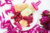 Homemade Vegan Popsicle from Frozen Apple Juice and Berries