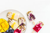 Homemade Detox Berry Popsicles, Healthy Snack Concept