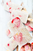 Vegan Strawberry Popsicles with Chia Seeds and Coconut Milk