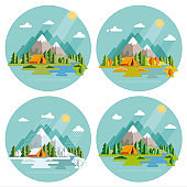 Seasons landscape set. Solitude in nature by the river. Weekend in the tent. Hiking and camping. Vector flat illustration