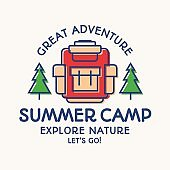 Hike and summer camp card color line style explore emblem, hiking sticker, banner, kids camp
