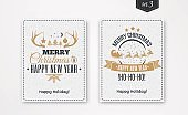 Christmas greeting card set with emblem gold style with santa and deer, tree, horn