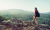 Traveler enjoying of mountain view.