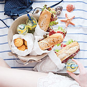 Picnic ham sandwiches and lemonade in a basket
