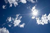 white cloud in blue sky. timelapse