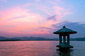 tranquil water in west lake at sunset