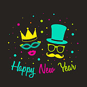 Happy New Year - card with funny masks in retro style. Vector.