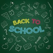 Concept of 'Back to School' poster on green board. Vector.
