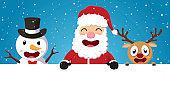 Happy Christmas santa claus ,reindeer and snowman