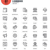 Simple set of e-commerce related vector line icons