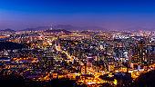 Seoul cityscape and Seoul tower at night. Traffic in Seoul, South Korea.