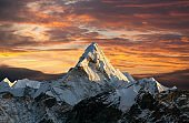 Evening panoramic view of mount Ama Dablam
