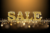 Luxury golden Sale sign. Vector golden sale word on dark background.