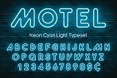 Neon light alphabet, realistic extra glowing font with brick wall