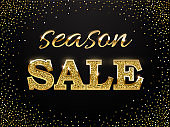 Luxury golden season sale sign. Vector golden season sale words on dark background.