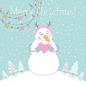 Winter card with cartoon cute snowman