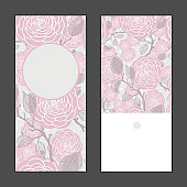 Vector rose flowers vertical round frame pattern invitation greeting cards set for wedding, marriage, bridal, birthday, Valentine's day.