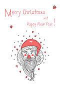 Santa Claus hand drawn portrait.