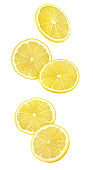 Isolated lemon pieces