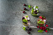 Traditional summer berry mojito