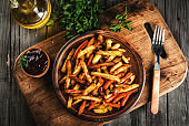 French fried potatoes and carrots