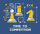 Vector illustration of chess pieces: pawn, rook and horse. Business competition concept on dark background with title.