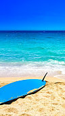 Beach, sea and surf background. Sandy beach, blue sky - Summer relax concept'n
