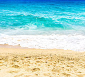 Empty Beach and ocean as  background with copy space. Sandy beach, blue sky and sea. Summer relax concept'n