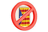 Prohibition of referendum in Catalonia concept. Voting booth with forbidden sign,  3D rendering