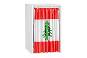 Vote in Lebanon concept, voting booth with Lebanese flag, 3D rendering isolated on white background