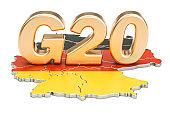 German G20 meeting concept. Summit G20, 3D rendering
