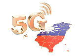 5G in Taiwan concept, 3D rendering isolated on white background