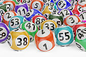 lottery balls, 3D rendering isolated on black background