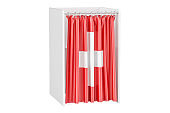 Vote in Switzerland concept, voting booth with Swiss flag, 3D rendering isolated on white background