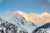 Panoramic view the mountains of ski resort Krasnaya Polyana, Sochi, Russia.