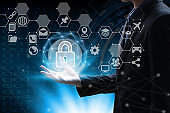 hand holding with virtual screen padlock and Interface Icons global network  Cyber Security Data Protection Business Technology Privacy concept, Internet Concept of global business, cloud computing concept