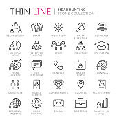 Collection of headhunting thin line icons