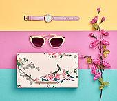 Fashion Woman Spring Accessories Set. Minimal. Art