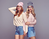 Fashion. Young Hipster Woman. Sisters Best Friends