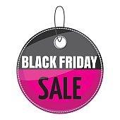 Tag black friday sale icon, cartoon style