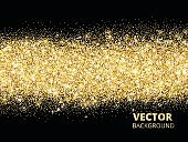 Sparkling glitter border on black. Festive background with vecto