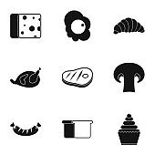 Morning meal icons set, simple style