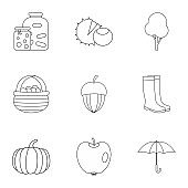 Autumn weather icons set, outline style
