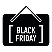 Card black friday icon, simple style