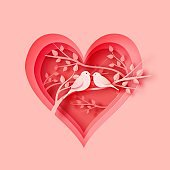3d abstract paper cut illustration of pink heart shape with birds couple on the tree. Vector colorful greeting card