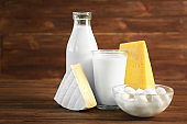 Dairy products on table, closeup